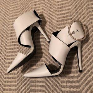 Zara White Heels with Buckle